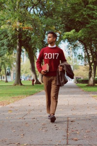 Parth Shingala wearing a red 2017 Hillflint sweater