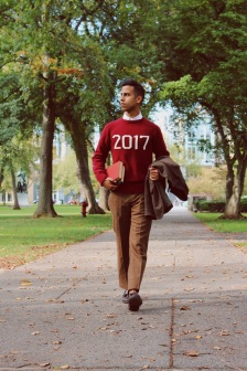 Parth Shingala wearing a red 2017 Hillflint sweater