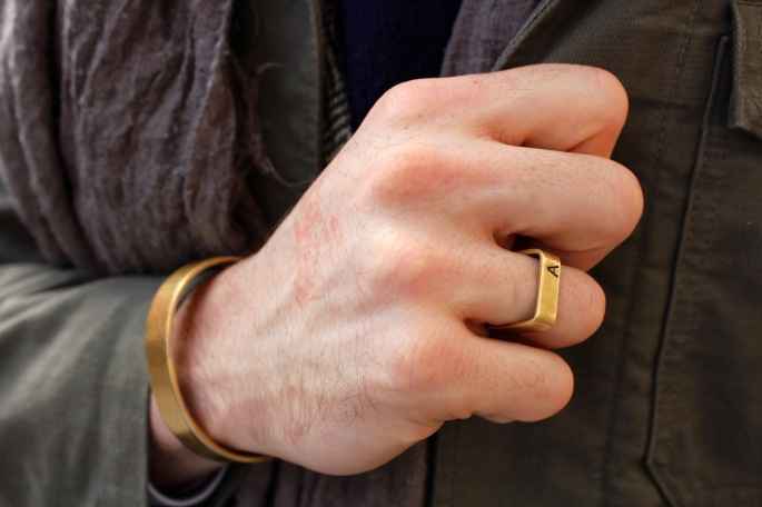 Engraved brass ring by Thea Grant