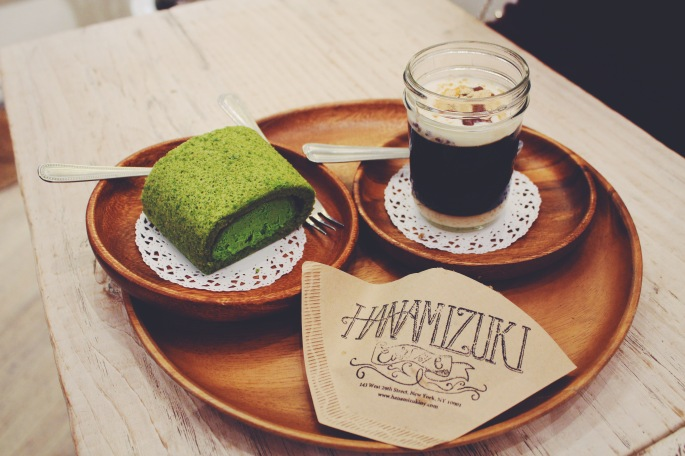 Matcha swiss roll cake | Coffee jelly with milk pudding and kinako | black sesame shortbread cookie