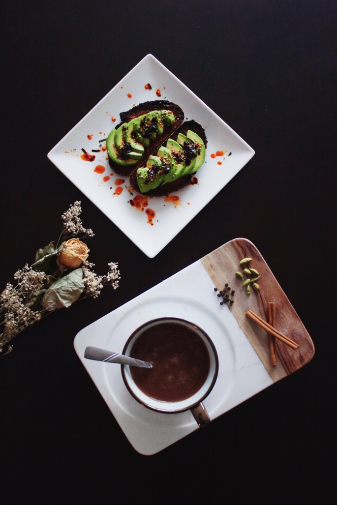 Spiced hot chocolate and avocado toast