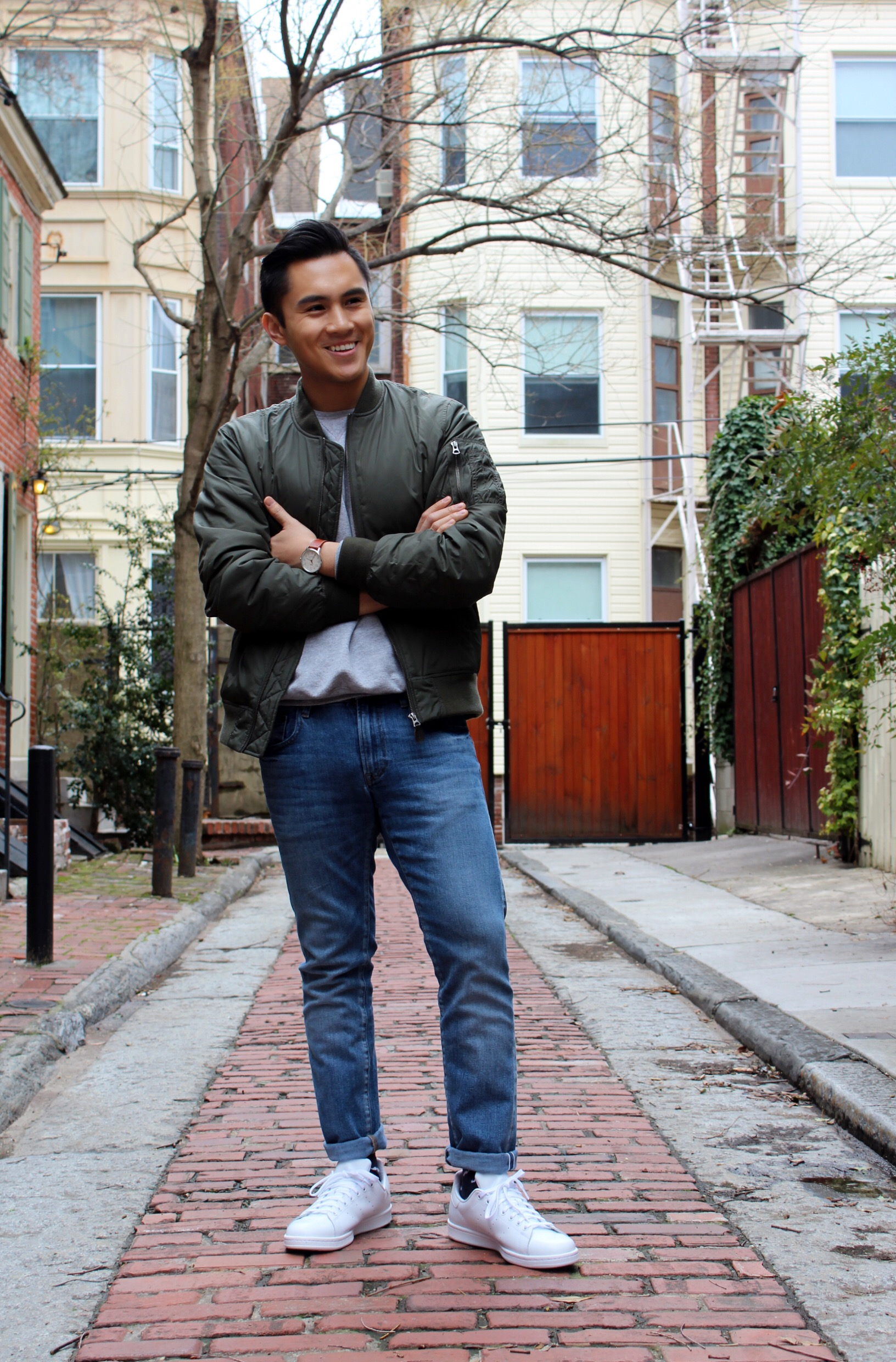 Olive green bomber jacket from Uniqlo with Timex Waterbury Watch