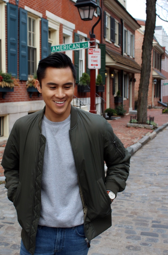 Olive green bomber jacket from Uniqlo
